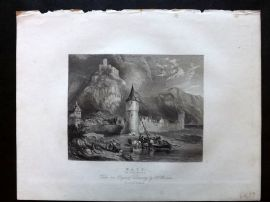 After Brown 1834 Antique Print. Katz on the Rhine, Germany